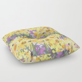 Yellow Daffodil Garden Floor Pillow