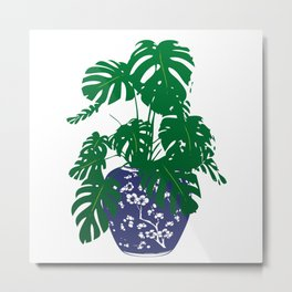 Chinoiserie Ginger Jar and Monstera Plant | Chinese Ginger Jar | Blue and White Ginger Jar | Blue and White Pottery | Metal Print