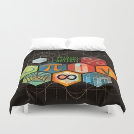 Math Game in black Duvet Cover