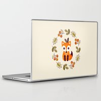 lindsay lohan Laptop & iPad Skins featuring LITTLE FOX WITH AUTUMN BERRIES by Daisy Beatrice