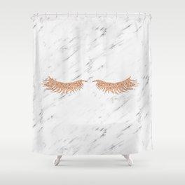 Rose gold marble lash envy Shower Curtain