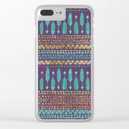 Gold Teal and Purple Arrows Tribal Aztec Pattern Clear iPhone Case