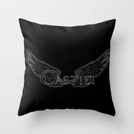 Castiel with Wings Black Throw Pillow