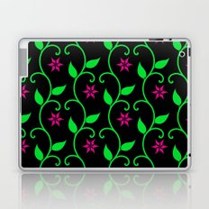 Pink flowers and green vines on black Laptop & iPad Skin