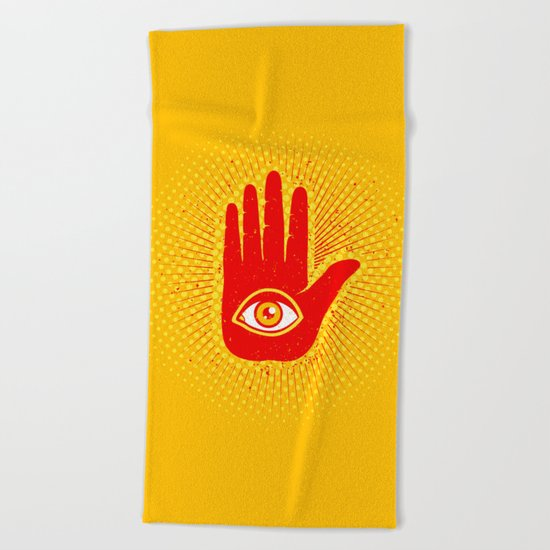 Hand and eye Beach Towel