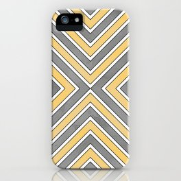 Stripes in Grey and Yellow-bold iPhone Case