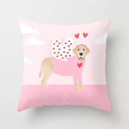 Yellow Lab valentines day labrador retriever dog breed must have gifts retrievers Throw Pillow
