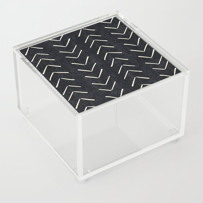 Mudcloth Big Arrows in Black and White Acrylic Box