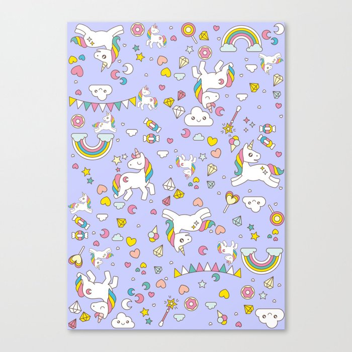 Unicorn Lilac Pattern Canvas Print