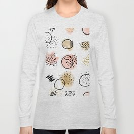 Mid Century Modern Abstract Blush and Gold Pattern I Long Sleeve T-shirt