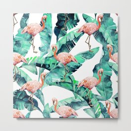 Tropical Flamingo Metal Print