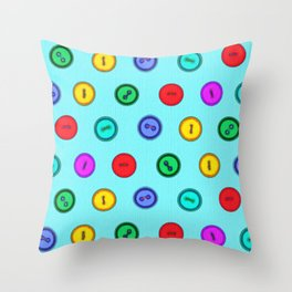 Colorful hand drawn vintage interior design and textile design buttons pattern Throw Pillow