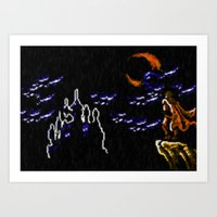 castlevania Art Prints featuring Castlevania III Trevor Belmont poster by VGPrints