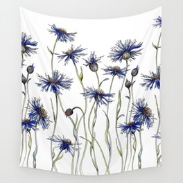 Blue Cornflowers, Illustration Wall Tapestry