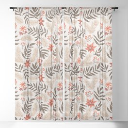 Christmas flowers and branches Sheer Curtain