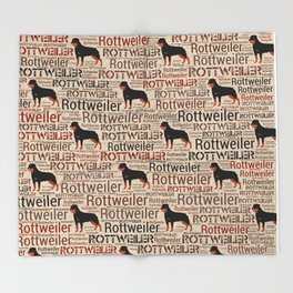 Rottweiler silhouette and word art pattern Throw Blanket
