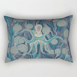 Ocean Vintage Octopus Surf Gold Summer Rectangular Pillow