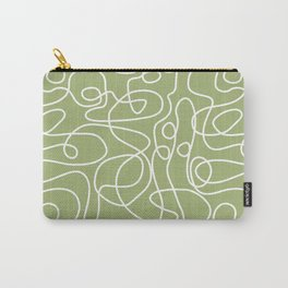 Doodle Line Art | White Lines on Spring Green Carry-All Pouch