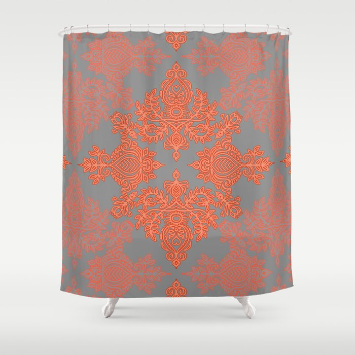 grey and coral shower curtain. Burnt Orange  Coral Grey doodle pattern Shower Curtain by