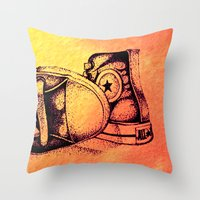 sneakers Throw Pillows featuring Sneakers by ladyberula