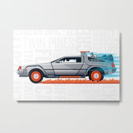 Great Scott! Back to the Future Delorean Print Metal Print
