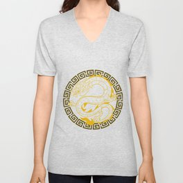 Golden Chinese Dragon Gift Print Martial Arts Asian Culture  Zip Print Unisex V-Neck