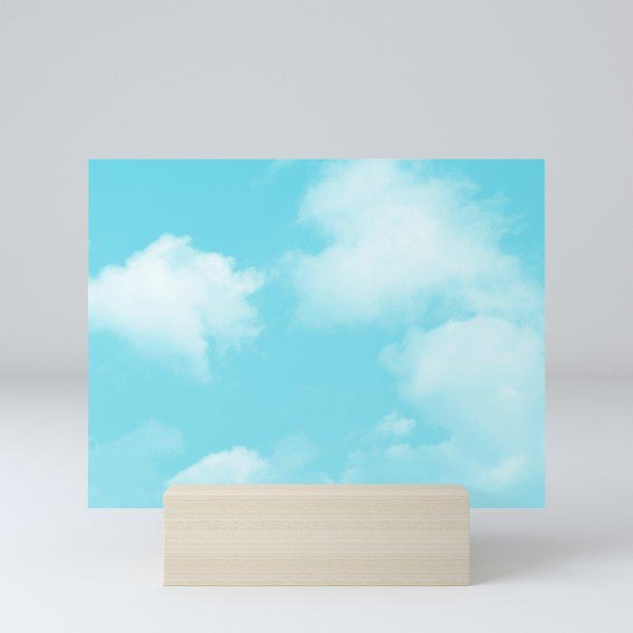 Aqua Blue Clouds Mini Art Print