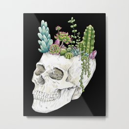 """""""Garden of Thought"""" - Skull and Flowers Metal Print"""