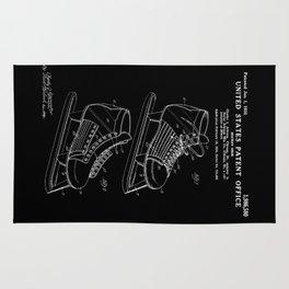 Hockey Skate Patent - Black Rug