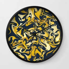 yellow and blue marble abstract texture pattern Wall Clock