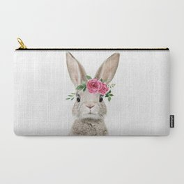 Baby Bunny with Flower Crown Carry-All Pouch