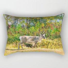 Lapland's reindeer watercolor painting  Rectangular Pillow