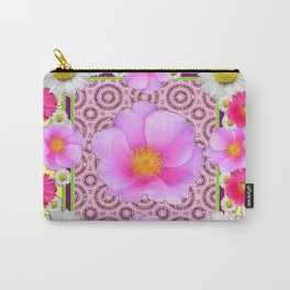 Floral Abundance yellow color fuchsia Shasta Daisy Pink Roses Abstract Ar Carry-All Pouch