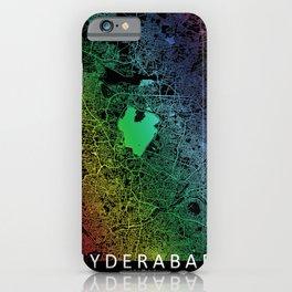 Hyderabad, India, City, Map, Rainbow, Map, Art, Print iPhone Case