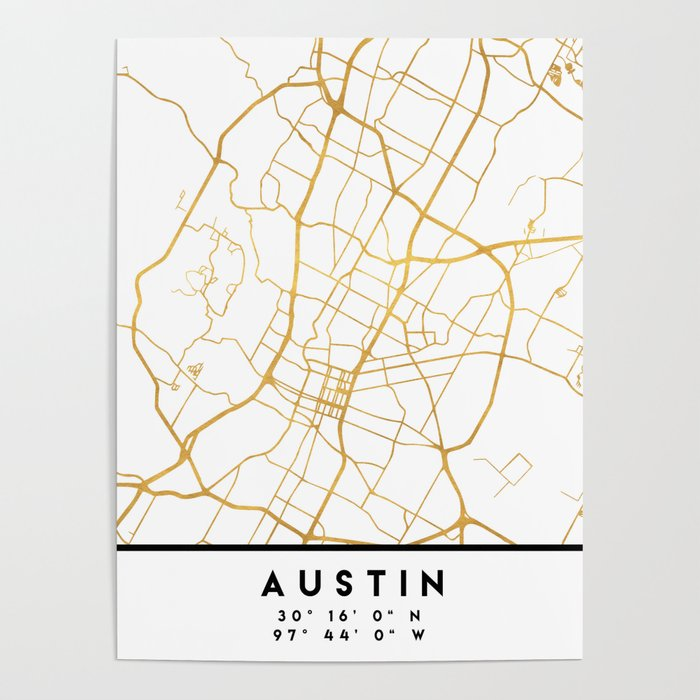 Map Of Texas City.Austin Texas City Street Map Art Poster By Deificusart