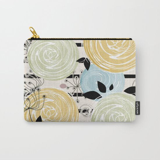 Retro . Abstract floral pattern on a striped background . Carry-All Pouch