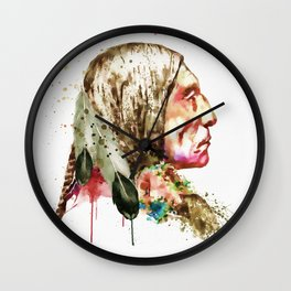 Native American Side Face Wall Clock