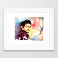 james franco Framed Art Prints featuring James Franco by Anguiano Art