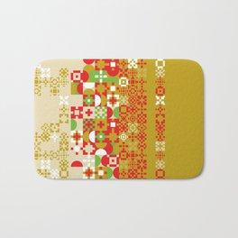 Red gold green abstract modern geometric background, pattern Bath Mat