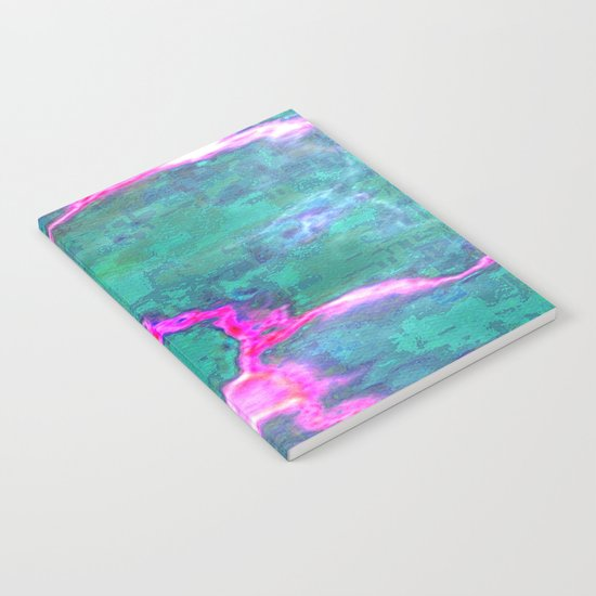 Marbled Green with Hot Pink Notebook