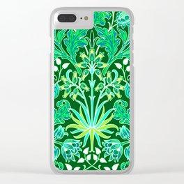 William Morris Hyacinth Print, Emerald Green Clear iPhone Case