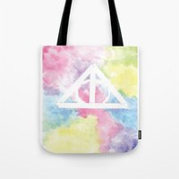 deathly hallows Tote Bags featuring Deathly Hallows  by Mackenzie Hahn