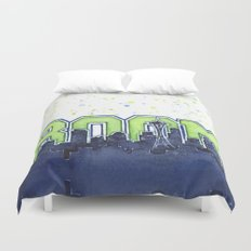Seattle Legion of Boom Space Needle Skyline Watercolor Duvet Cover