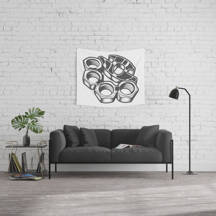 """Fashion Modern Design Print """"Brass Knuckles""""! Rap, Hip Hop, Rock style and more Wall Tapestry"""