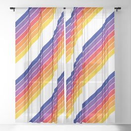 Rainbow Candy Stripe Sheer Curtain