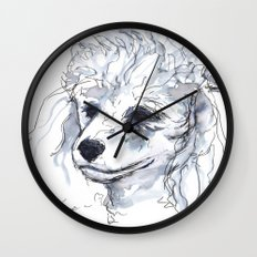 Poodle (portrait for my mom), watercolor Wall Clock