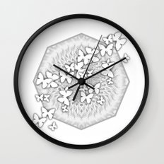 Butterflies and kaleidoscope in gray and white Wall Clock