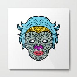 Female Calavera Sugar Skull Mono Line Metal Print