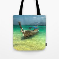 thailand Tote Bags featuring Thailand Longboat by Adrian Evans