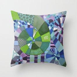 "Moo's Mom's Abstract art ""Teal Swirl"" Throw Pillow"